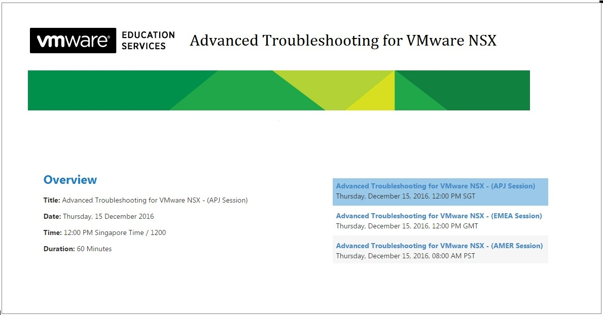 Advanced Troubleshooting for VMware NSX
