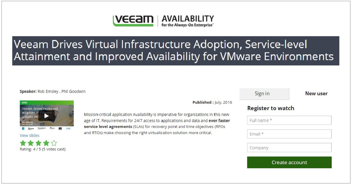 Veeam Drives Virtual Infrastructure Adoption, Service-level Attainment and Improved Availability for VMware Environments